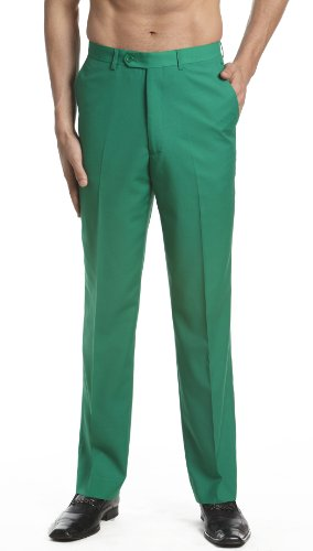 CONCITOR Men's Dress Pants Trousers Flat Front Slacks EMERALD GREEN Color 30]()