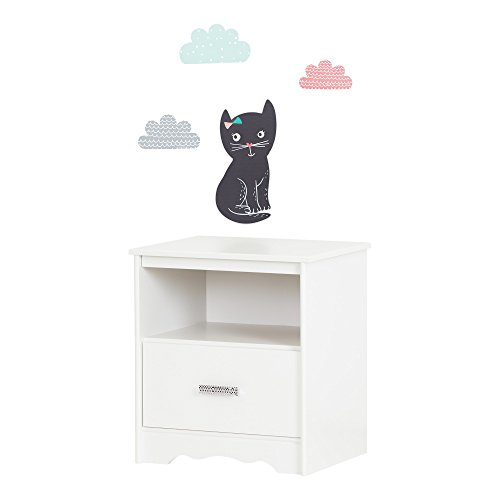 South Shore Tiara Pure White and Black 1-Drawer Nightstand with Night Garden Little Cat Wall Decals by South Shore