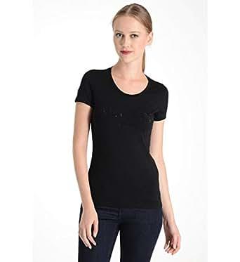 Armani Jeans Black Cotton Round Neck T-Shirt For Women