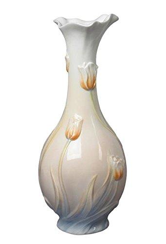 10.5 Inch White Glazed Porcelain Orange Tulip Bud Vase with Blue Base