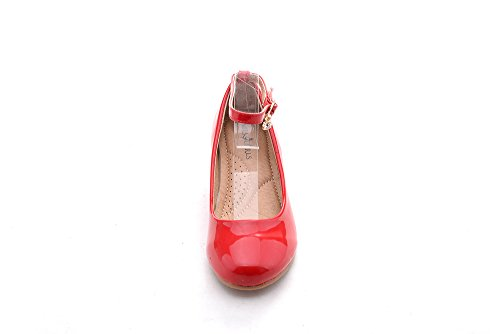 Mila Girls Toddler & Little Girls Mary Jane Low Heel Wedges Pumps Party Dress Shoes (Jodie-3) Red12