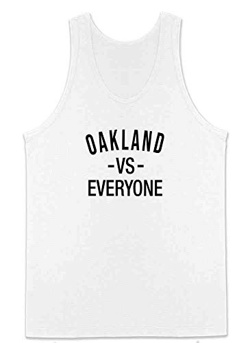 Pop Threads Oakland vs Everyone Sports Fan White M Mens Tank Top