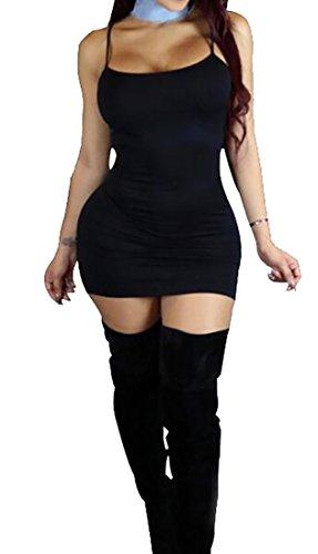 Slim Dress 1 Club Strap Domple Bodycon Solid Fit Color Spaghetti Womens Tqv8zX