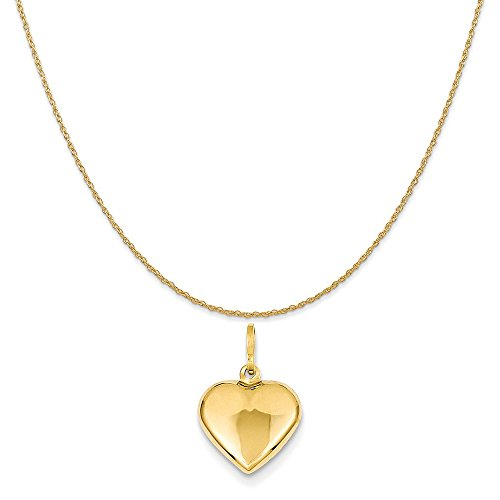 Mireval 14k Yellow Gold Puffed Heart Charm on a 14K Yellow Gold Rope Chain Necklace, ()
