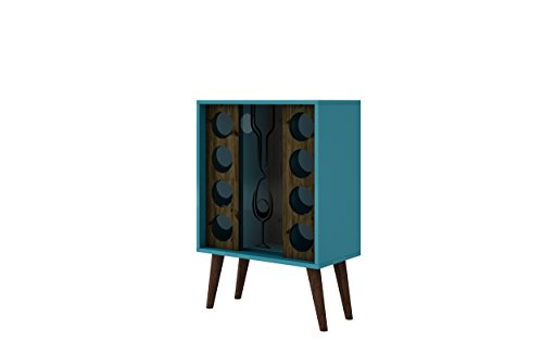Collection Bar Cabinet - Manhattan Comfort Lund Collection Modern Square Design Reclaimed Wine Bar Cabinet, Holds 8 Bottles, Teal/Wood