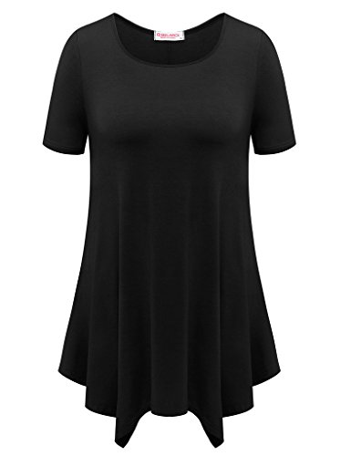 BELAROI Womens Basic Solid Loose Fit Short Sleeve Tunic T Shirt (1X, Black)