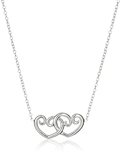 (Hallmark Jewelry Sterling Silver Double Heart Necklace, 18