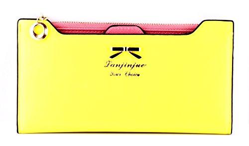 ENENKISS Women's Fashion Korean Style Bow-knot Leather Multi-function Plug-in Wallet Purse Handbag (Yellow) by Lanjinjue