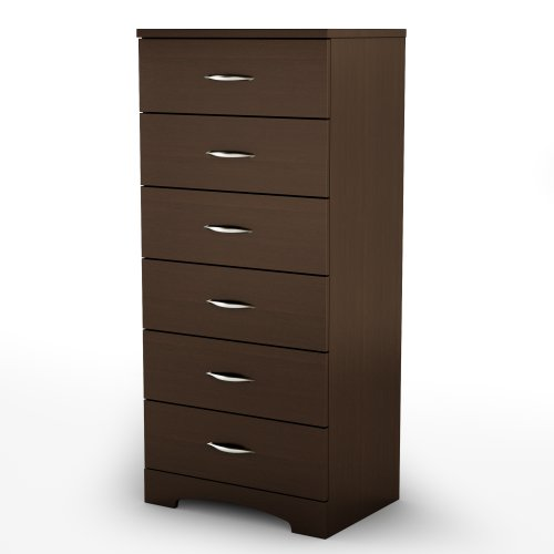 South Shore Step One 6-Drawer Dresser, Chocolate with Matte Nickel Handles
