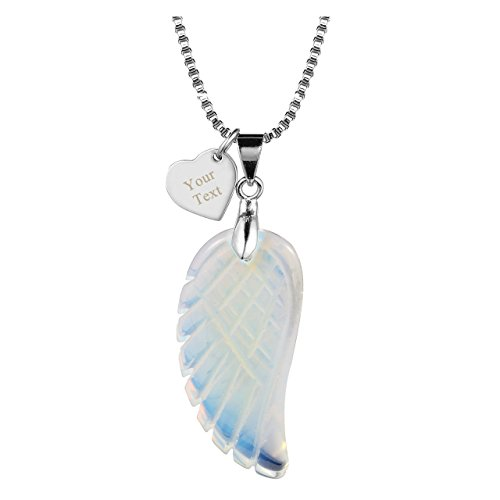 Jovivi Free Engraving-Personalized Custom Name Words Heart Dog Tag Natural Amethyst Quartz Gemstone Carved Angel Wings Reiki Chakra Healing Point Pendant Neckalce