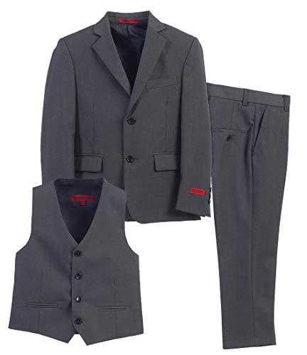 Boys Grey Suit (Gioberti Boy's Formal 3 Piece Suit Set, Charcoal, Size)