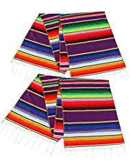 2 Pack Mexican Serape Table Runner 14 x 84 Inch for Mexican Party Wedding Decorations Outdoor Picnics Dining Table, Fringe Cotton Handwoven Table Runners]()