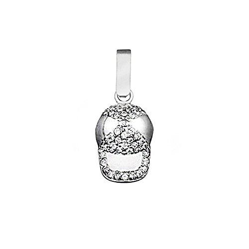 Pendentif 18k or blanc bonnet de zircone cubique [AA4674]