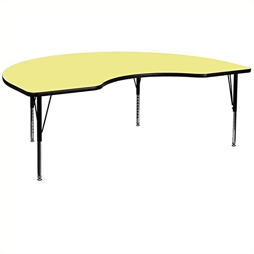 Bowery Hill 25.13''Hx96''W Kidney Shaped Activity Table in Yellow