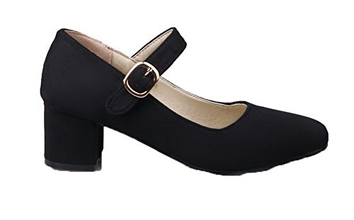 VogueZone009 Women's Buckle Kitten-Heels Frosted Solid Square-Toe Pumps-Shoes Black TXYJN