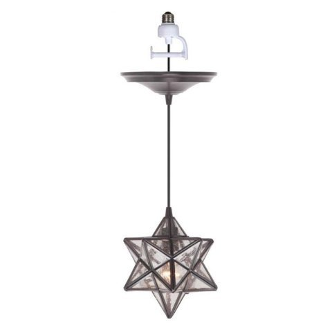 Worth Home Products Instant Screw In Pendant with Moravian Star Seeded Glass