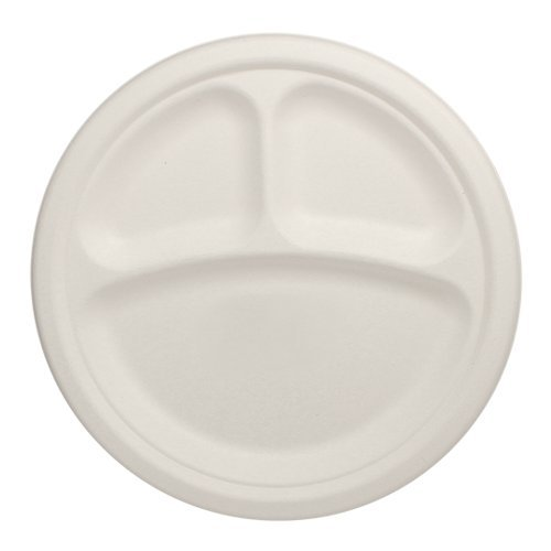 "Durable Eco-Friendly 9"" Bagasse Plates (3 Compartments) Pack of 100 Round White Plates w/ Dividers - Microwave Safe, Compostable, Made from Sugercane Fibers (100 Count)"