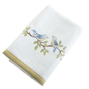 Avanti Blue Birds Bath Towel, White