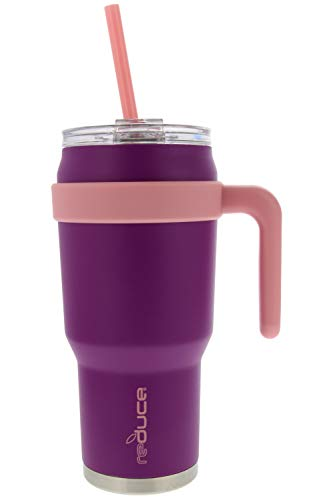 - REDUCE COLD-1 Outdoor Extra Large Vacuum Insulated Thermal Mug with Slender Base, 3-in-1 Lid and Ergonomic Handle, 40oz - Tasteless and Odorless Powder Coat (Violet/Pink) - Great for Home and Travel