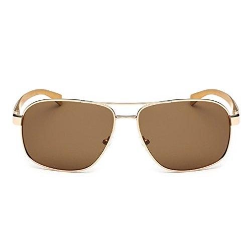 LOMOL Mens Summer UV Protection Fashion Cool Rectangular Driving Fishing - Bridge Sunglasses Wholesale Golden