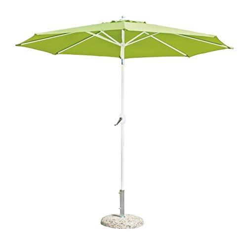 InHouse srls Ombrellone da Giardino con Palo in Alluminio, Struttura Colore Bianco, Telo Colore verde, Ø270 x 240H