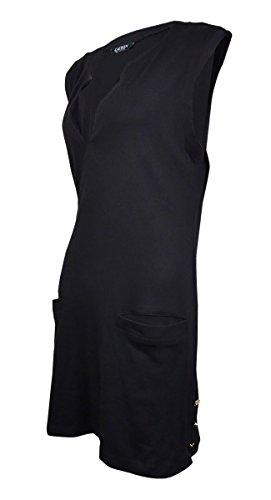 Ralph Lauren Two Button Suit (LAUREN Ralph Lauren Women's Button Solids Sleeveless Buttron Tunic Cover-Up Black Swimsuit Top)