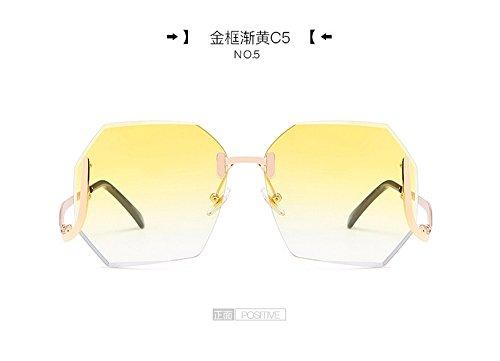 Marco Señoras Metal Polígono Marco De Cerco gradualmente Sin Gafas Cuadrado dorado Sol Gafas De Sol Gafas Dorado amarillamiento Gradualmente Gris Rosa Gafas Gradual JUNHONGZHANG Transparentes vT80w18O
