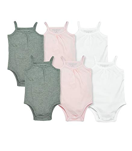 Burt's Bees Baby Baby Girls' Bodysuits, Camisole Sleeveless Tank Top One-Pieces, 6-Pack, Cloud/Heather Grey/Blossom, 24 Months
