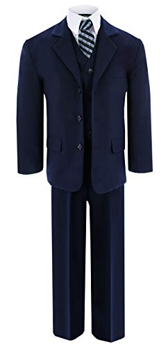 Navy Blue Formal Suit Set from Baby to Teens GG230 (12, Navy Blue) -