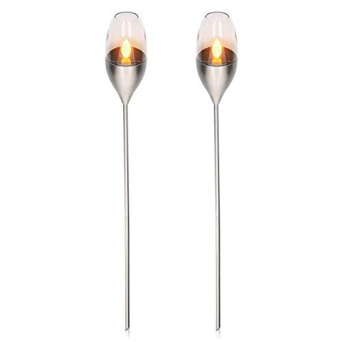 Navaris 2x Antorcha solar LED de exterior – Luces de jardín con efecto de llama – Lámparas decorativas con estaca para…