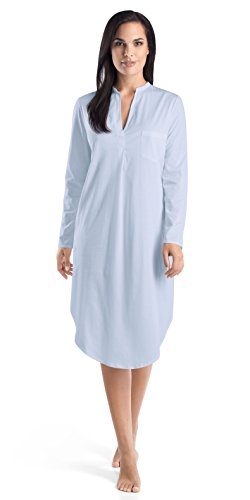 HANRO Women's Cotton Deluxe Long Sleeve Button Front Gown, Blue Glow, X-Large
