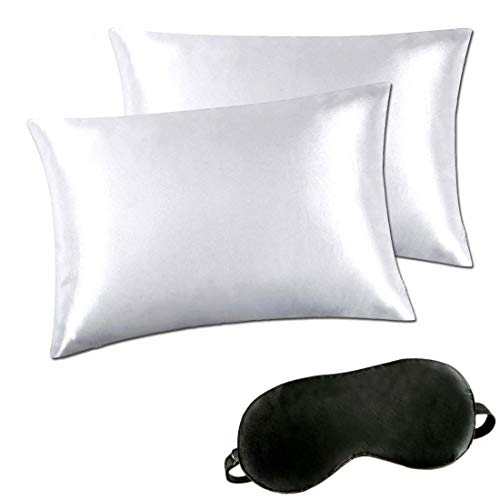 Silky Sleep Satin Pillowcase - Satin Pillowcases Set for Hair and Skin, Standard Queen King Size Silk Pillowcase Prevents Sleep Wrinkles,No Zipper Pillow Silk Pillowcase Easy to WASH, Gift-Eye Mask(White, King)