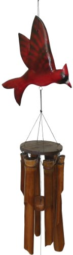 - Cohasset Gifts 187C Cohasset Carved Flat Cardinal Bamboo Wind Chime, Bright Red Finish
