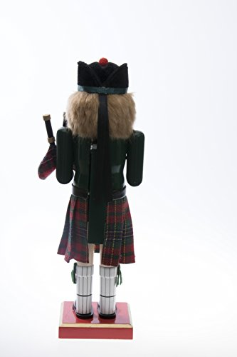 "Clever Creations Scottish Wooden Collectible Nutcracker Wearing Scottish Kilt, Green Coat, and Plaid Hat with Bagpipes | Festive Decor | Perfect for Shelves and Tables | 100% Wood | 14"" Tall by Clever Creations (Image #3)"