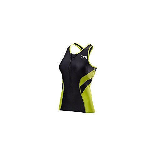 TYR Competitor Tri Tank Top - Women's Black/Lime, -