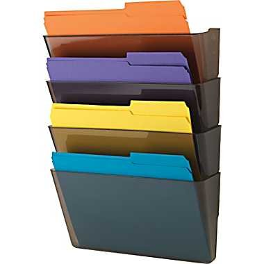 "Staples Expandable Hanging Wall File Pockets, 4 Pockets, Letter-Size, 11-3/4""H x 13-1/2""W x 4-1/2""D, Smoke (889188)"