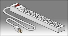 Back Computer Carrel - 6 Outlet Surge Protected Power Strip