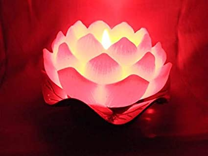 Buy Breewell Decorative Crystal Lotus Flower With Red Color Candle