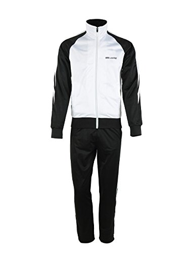 Men's Outdoor 2 Pic Jacket Pants Track Suit Sport Sweat Suit Set White/Black - Mens Pics Black