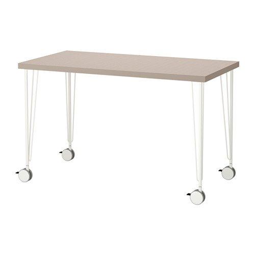 LINNMON/KRILLE テーブル, 幾何学模様 ベージュ, ホワイト 392.142.17 B075V1V32P