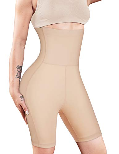 Nebility Women Waist Trainer Shapewear High Waist Tummy Control Butt Lifter Panty Thigh Slimmer Beige (Best Tummy Control Shapewear Plus Size)
