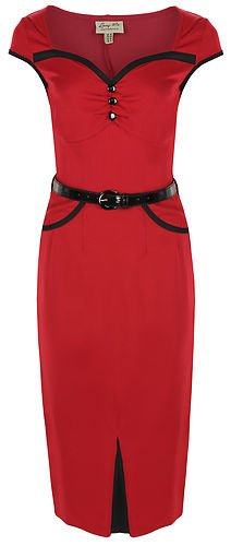 Lindy Bop 'Heidi' Chic Vintage 1950's Style Pencil Wiggle Dress (M, Red)
