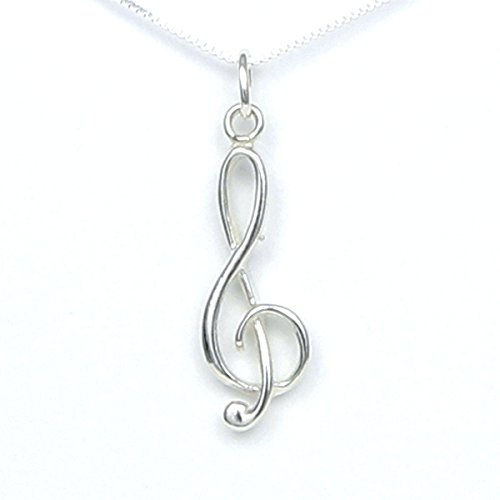 Treble Clef Sterling Silver Necklace - Gift Boxed with story card - Handmade in USA - 18
