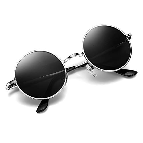 Argus Le Lennon Retro Round Sunglasses, Vintage Polarized Hipple Glasses with Plain Lens