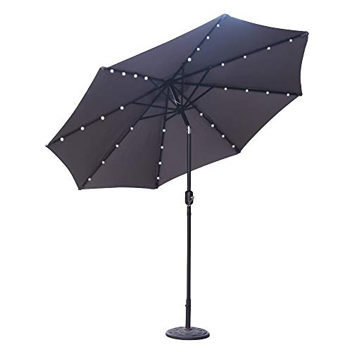 ABCCANOPY 9 FT Solar Powered Patio Umbrella 32LED Lights Solar Umbrella with Tilt and Crank,Dark Grey by ABCCANOPY