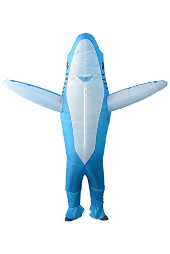 Qshine Inflatable Shark Cosplay Costume Halloween Funny Cartoon Animal Blow up Suit Adult and Child (Blue) -