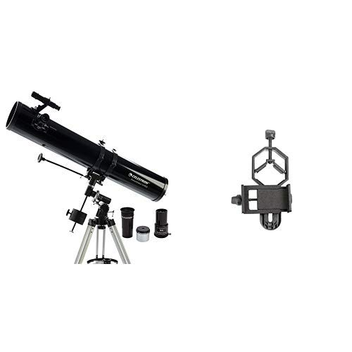 Celestron 21045 114mm Equatorial PowerSeeker EQ Telescope with Basic Smartphone Adapter 1.25'' Capture Your Discoveries by Celestron