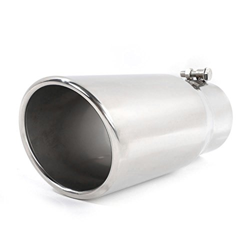 Roadstar 304 Stainless Steel Diesel Exhaust Tip Polished Finish Angled Cut Rolled Edge Universal Clampless 4