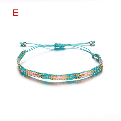 (FILOL Personality Bohemian Handwoven Rope Charm Creative Bracelets, Adjustable Vintage Natural Handwoven Multicolor Bracelet Charm Lover Festival Bangle Jewelry Gifts (E))