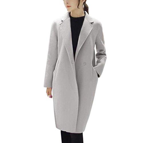 Slim Wool Jacket Coat (ManxiVoo Autumn Wool Single Button Jacket Women's Winter Classicly Slim Pea Coats Lapel Long Trench Coat (XL, Gray))